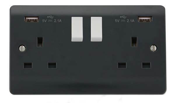 Scolmore Mode Part M 2 Gang Switched Socket with twin USB outlets