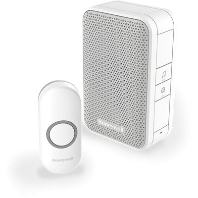 Honeywell 150m Wireless Portable Doorbell with Push Button – White