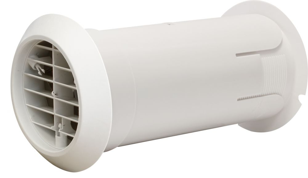 Manrose Deluxe Quick Internal Fit Wall Kit with White external grille and rubber seal.