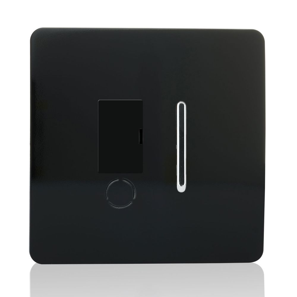 Trendiswitch screwless fused spur with flexed outlet Piano Black