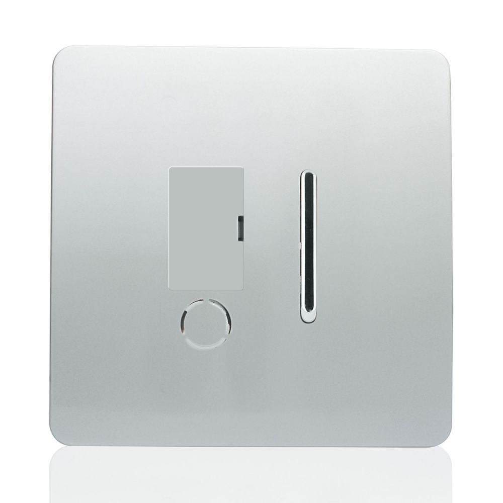 Trendiswitch screwless fused spur with flexed outlet Gloss Silver