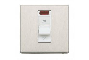Aspect 1G 32A DP Switch + Neon Brushed Stainless Steel White Insert