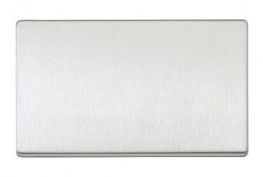Aspect 2 Gang Blank Plate Brushed Stainless Steel