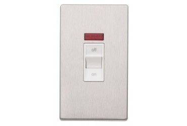 Aspect 45A DP Switch Neon Brushed Stainless Steel White Insert