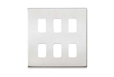 Aspect 6 Module Front Plate with Frame Brushed Stainless Steel