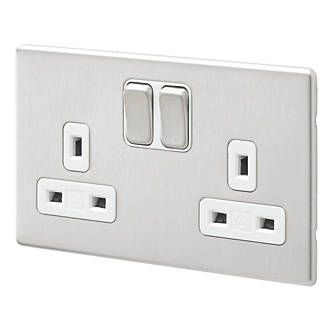 Aspect 13A 2G DP Switch Socket Dual Earth Brushed Stainless Steel White Insert