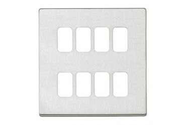 Aspect 8 Module Grid Plate + Frame Brushed Stainless Steel