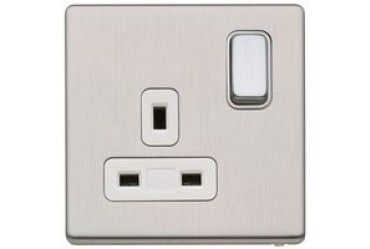 Aspect 13A 1G DP Switch Socket Dual Earth Brushed Stainless Steel White Insert