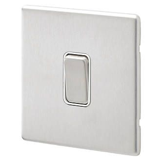 Aspect 1G 20A SP 2 Way Switch Brushed Stainless Steel White Insert