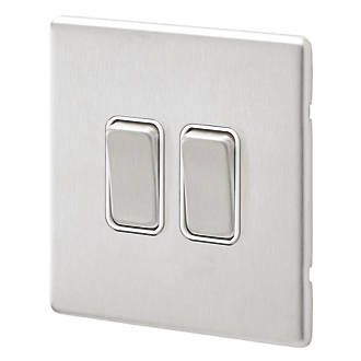 Aspect 2G 20A SP 2 Way Switch Brushed Stainless Steel White Insert