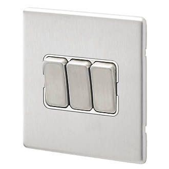 Aspect 3G 20A SP 2 Way Switch Brushed Stainless Steel White Insert
