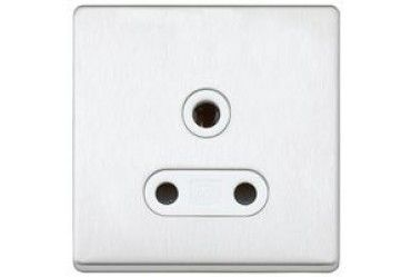 Aspect 1G 5A Round Pin Socket Brushed Stainless Steel White Insert