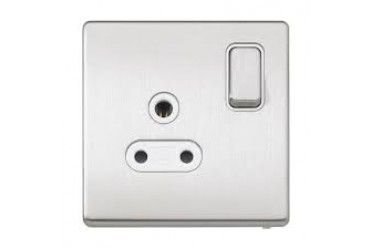 Aspect 1G DP 5A Round Pin Switched Socket Brushed Stainless Steel White Insert
