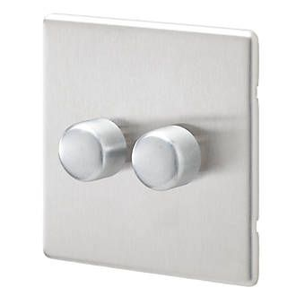 Aspect 2G 2 Way Dimmer 450W/375VA Brushed Stainless Steel