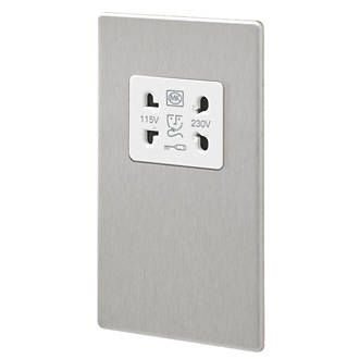 Aspect 2G 115/230V Shaver Socket Brushed Stainless Steel White Insert