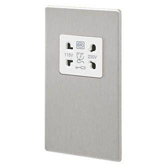 Aspect 2G 115/230V Shaver Socket Brushed Stainless Steel White Insert