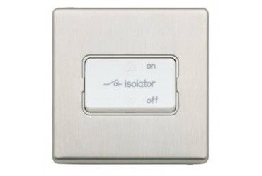Aspect Three Pole Fan Isolator Switch Brushed Stainless Steel White Insert