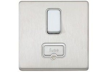 Aspect 13A DP Switched Spur Brushed Stainless Steel White Insert