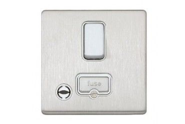 Aspect 13A DP Switched Spur Neon Flex Outlet Brushed Stainless Steel White Insert