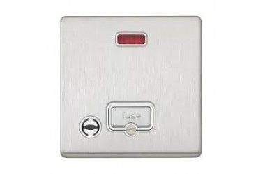 Aspect 13A DP Unswitched Spur Neon Flex Outlet Brushed Stainless Steel White Insert
