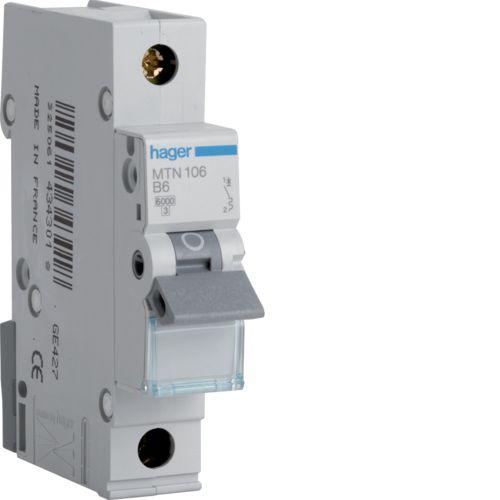 Hager MTN106 1 Module SP Type B MCB 6A 6kA