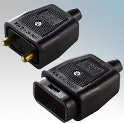 BG Heavy Duty Inline 2 Pin Connector Black
