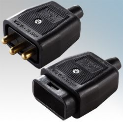 BG Heavy Duty Inline 3 Pin Connector Black