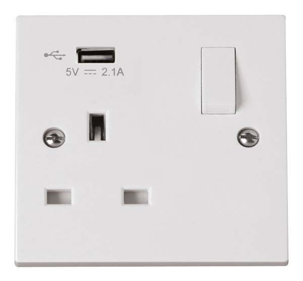 Scolmore Polar 1 Gang Switched Socket with USB outlet