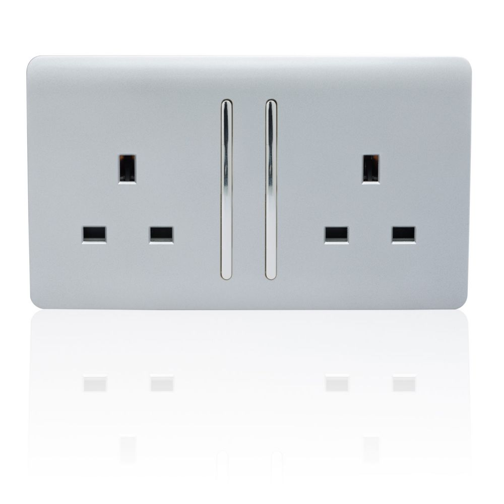 Trendiswitch screwless 2 gang socket with long switch Gloss Silver