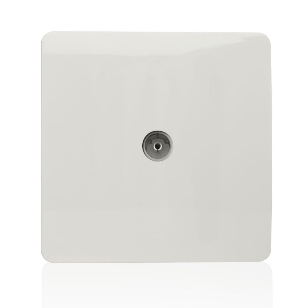TrendiSwitch Screwless 1 Gang TV coaxial Socket Gloss White