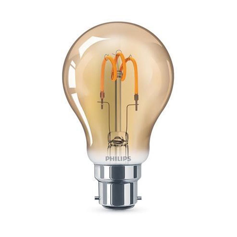 Philips 14W LED Vintage Spiral Filament GLS Gold BC Non-Dimmable Very Warm White 1SRT4