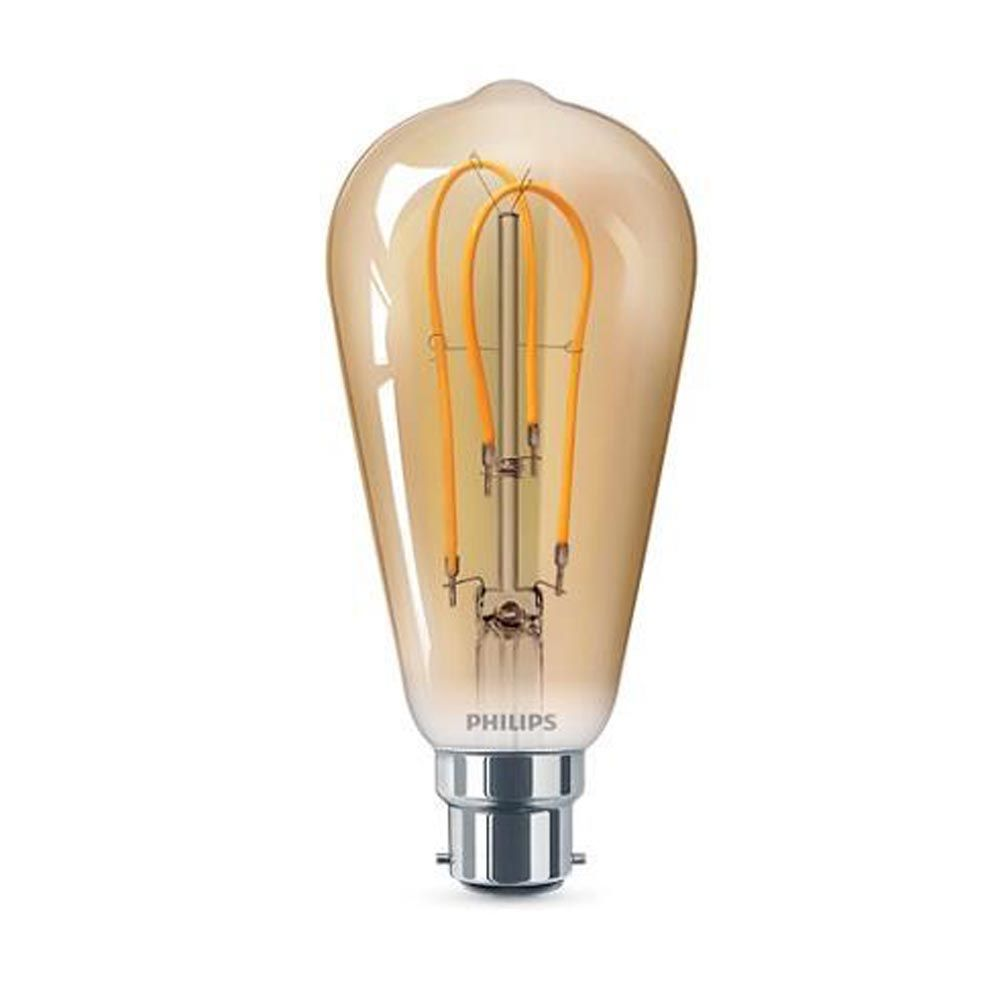 Philips 25W LED Vintage Squirrel Cage Gold ST64 BC Non-Dimmable Very Warm White SRT4