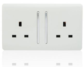 Trendiswitch screwless 2 gang socket with long switch Gloss White